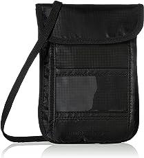 AmazonBasics RFID Blocking Travel Neck Sling Wallet, Black