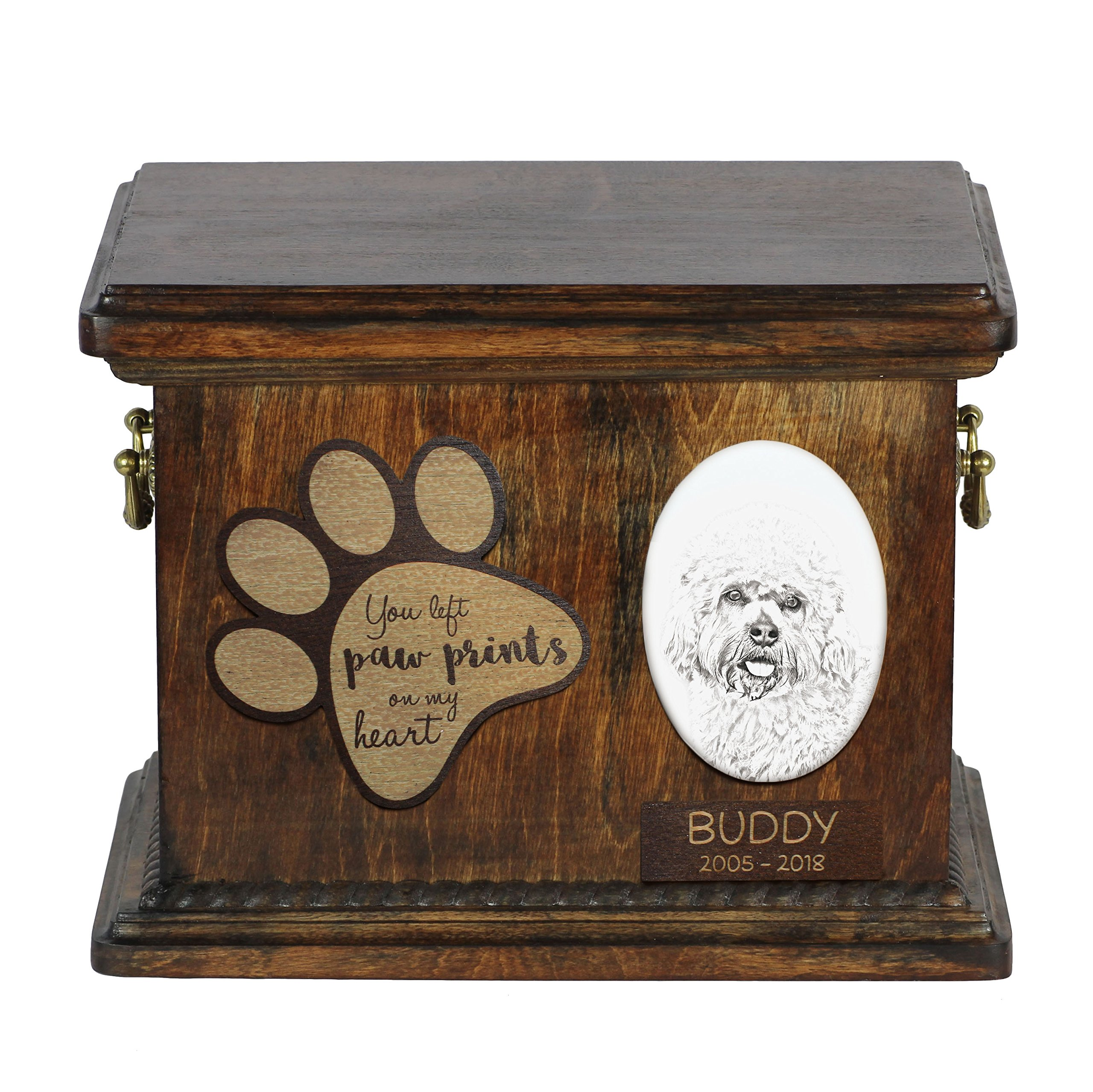 ArtDog Ltd. Dandie Dinmont Terrier, urn for dog's ashes with ceramic plate and description