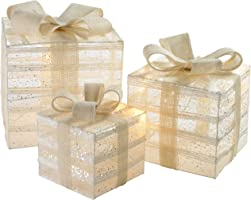 WeRChristmas Pre-Lit Paper String and Gauze Gift Box Set with 42 Warm LED Lights, 15/20/26 cm - White