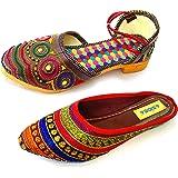 ASIDEA Combo of Jaipuri Silk Mojari and Multicolor Slipper for Women   Rajasthani Juti for Women and Girls Set of 2