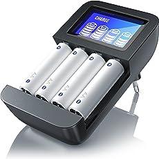 CSL - Universal Batterie Ladegerät | Typ AA oder AAA (NiMH) | Mikroprozessorgesteuertes Laden | 4x Ladeschächte | einfache Handhabung | LCD-Display | schwarz