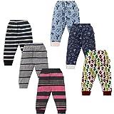 NammaBaby Unisex Baby Cotton Mixed Print Pyjama Rib Pants Multi-Coloured - Pack of 6
