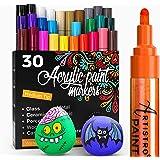 Artistro marqueur Acrylique stylos acryliques - 30 Couleurs - Marqueurs Peinture Acrylique - Feutre Acrylique Pointe Large 2m