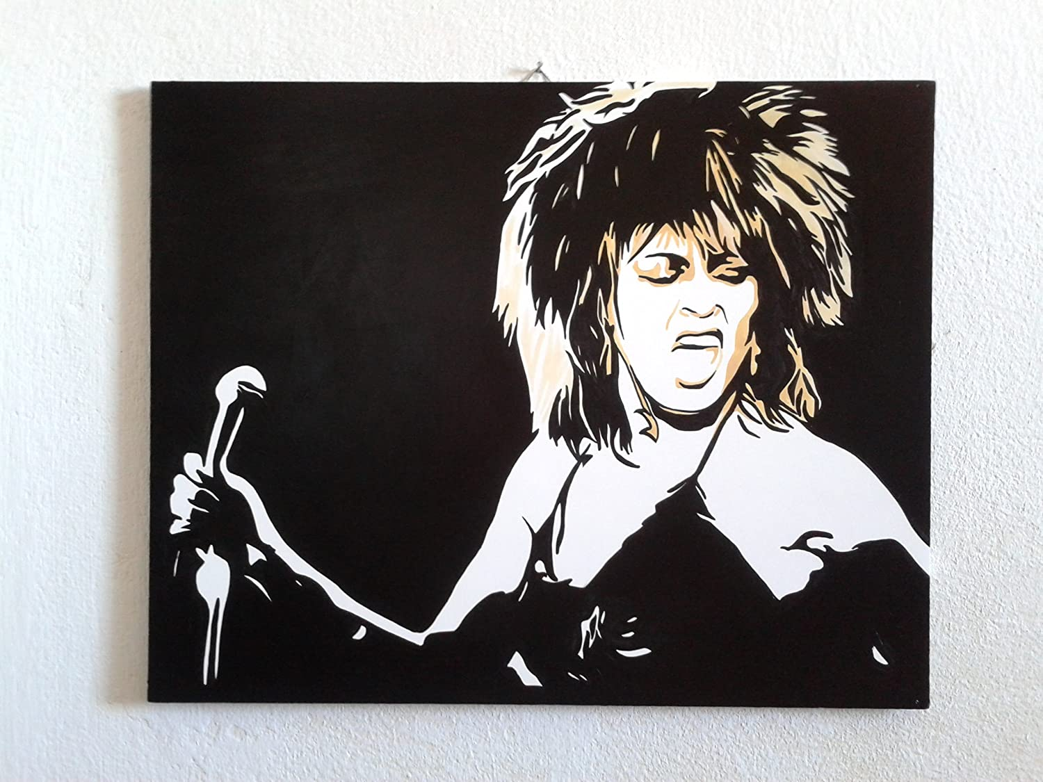 Black and white baby mobile designed and made in australia by tina - Tina Turner Modern Painting Pop Art Style Hand Painted By Fratta Artist Ready To Hang 100 Artwork Hand Made 24 X 18 Inches Amazon Co Uk