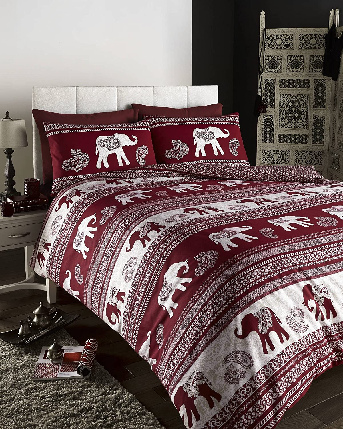 ethnic indian style printed duvet cover bed sets (red double  - ethnic indian style printed duvet cover bed sets (red double)amazoncouk kitchen  home