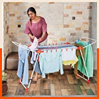 Bathla Mobidry Axis - Large Foldable Cloth Drying Stand with Hanger Hooks & Clip Bag