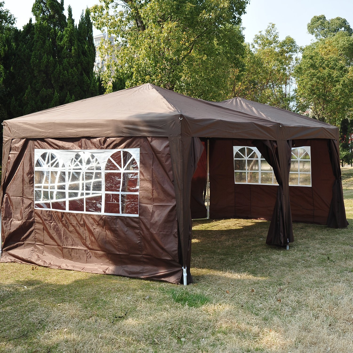 Outsunny 6m X 3m Garden Heavy Duty Pop Up Gazebo Marquee Party Tent Wedding Water Resistant Awning Canopy Black With Free Storage Bag Amazoncouk