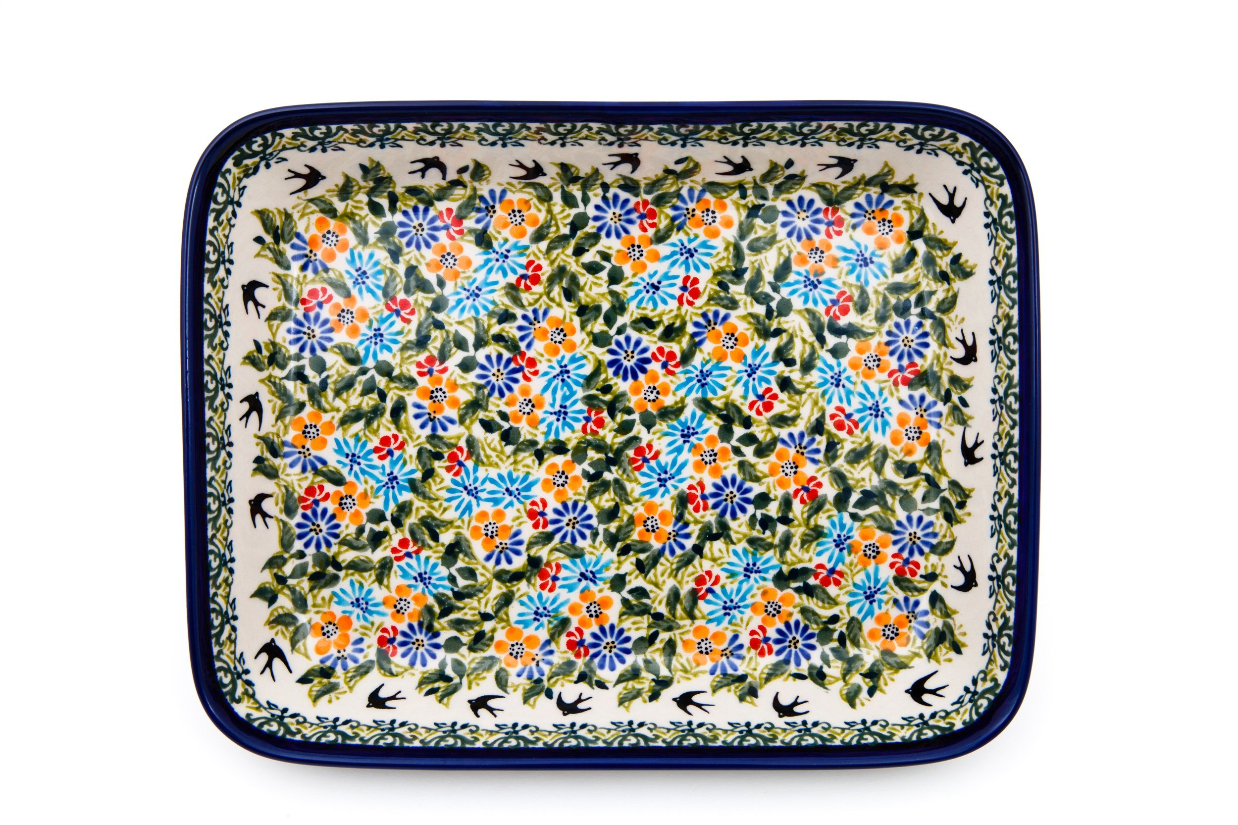 Hand-Decorated Polish Pottery Casserole Dish for 2People 25,5×19,5×4,5cm Premium Design DU182(L x W x H)