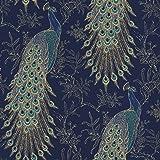 RASCH (U.K) Limited Rasch Portfolio Pauw Behang Marineblauw Goud Metallic Exotische Vogelveren Lusury Feature Muur 10 m Roll