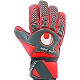 UHLSPORT Aerored Supersoft keeperhandschoen voetbalhandschoen – handpalm latex supersoft – klassieke snit – donkergrijs/neonr