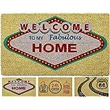 LucaHome - Felpudo Coco Natural 40x70 Antideslizante, Felpudo de Coco Welcome Vegas, Felpudo Absorbente Entrada casa, Ideal p