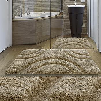 Tapis De Bain Gris Foncé Certifié OekoTex Et Lavable Poil - Carrelage salle de bain et tapis casa pura
