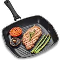 Andrew James Griddle Pan for All Hobs Including Induction   Oven-Proof Non-Stick Aluminium Pan with Removable Handle…