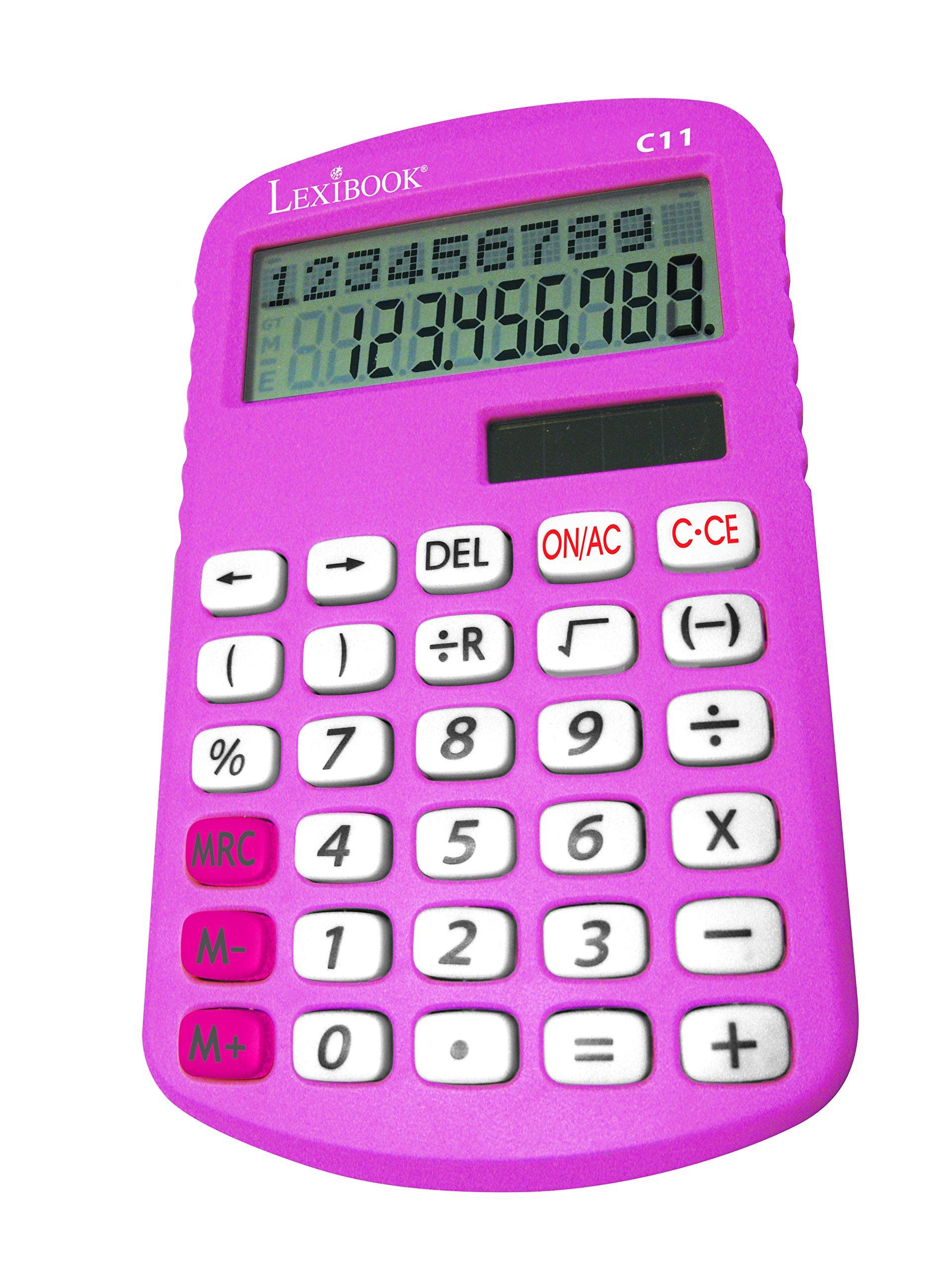 Lexibook C11Z - Calcolatrice Linea Doppia, 10 cifre, Funzioni tradizionali e avanzate, Scuola elemen