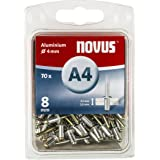 Novus Blindklinknagels 8 mm aluminium, 70 blinde klinknagels, Ø 4 mm, 3,5-5,0 mm klemlengte, bevestiging van kunststof en lee