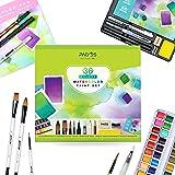 Pagos Akvarellfärger set Profi 36 fast pigment målarbox hög pigmentering, 12 akvarellpapper för konstnärer, studenter, vuxna