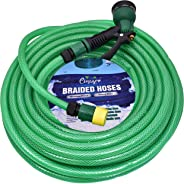 CINAGRO™ - Heavy Duty 3 Layered Braided Water Hose Pipe (Size : 1/2 inch - Lenght : 30 Meters) with 8 Mode Spray Nozzle and Q