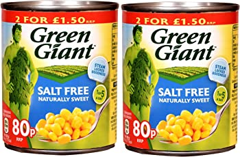 Green Giant Salt Free Corn Niblets, 168g (Pack of 2)