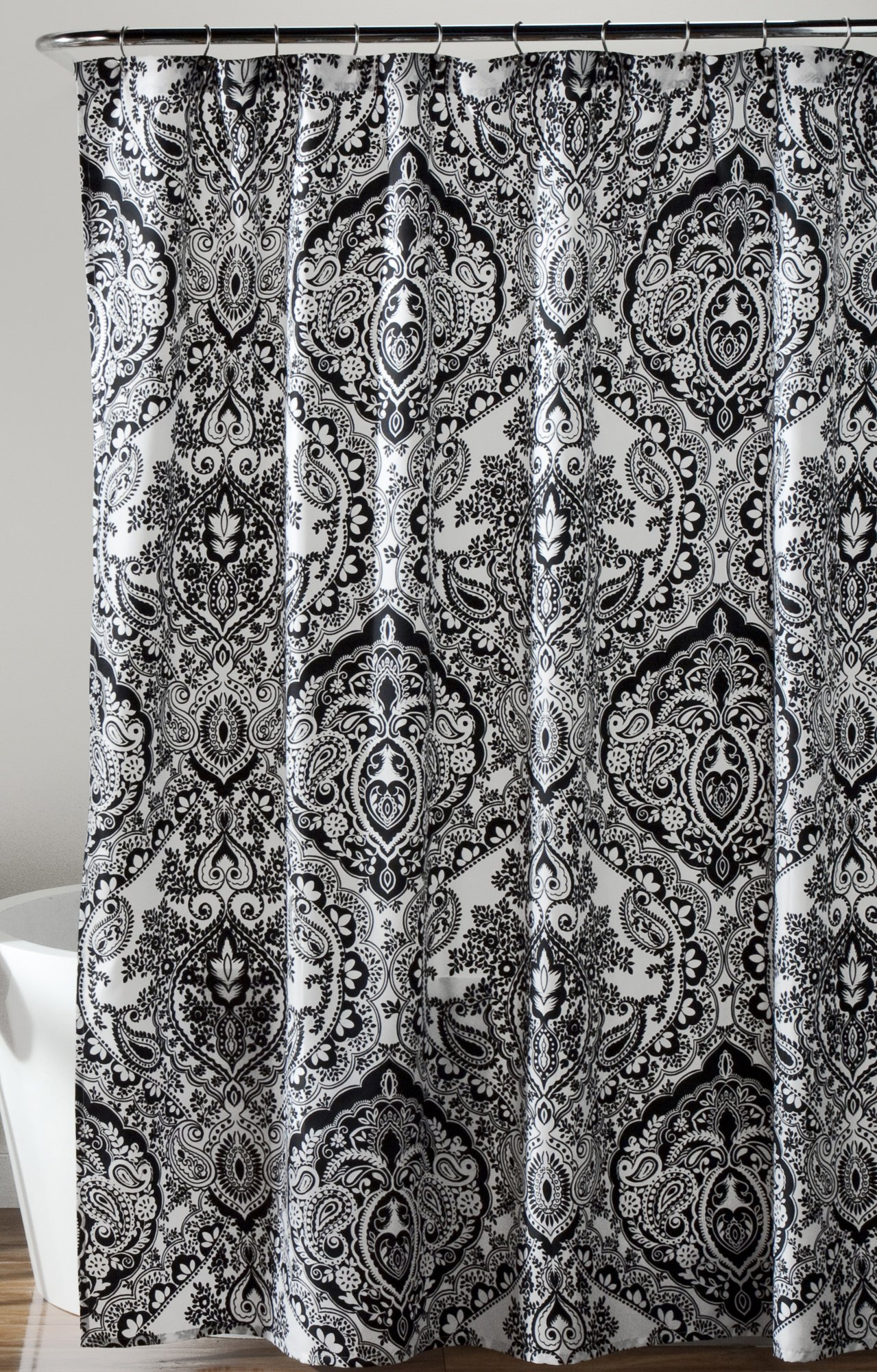 Lush Decor Aubree Shower Curtain, 72 x 72, Black/White