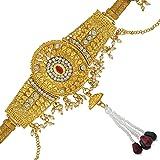 DzineTrendz Brass Gold Plated, Big Oval Design, CZ Kundan Faux Ruby, Patta Design, Waistbelt, Bellychain, Kamar bandh Women T