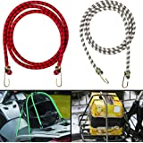 Autofy Multipurpose Ultra Flexible Bungee Rope/Luggage Strap/Bungee Cord with 15 MM Diameter and Metal Hooks…