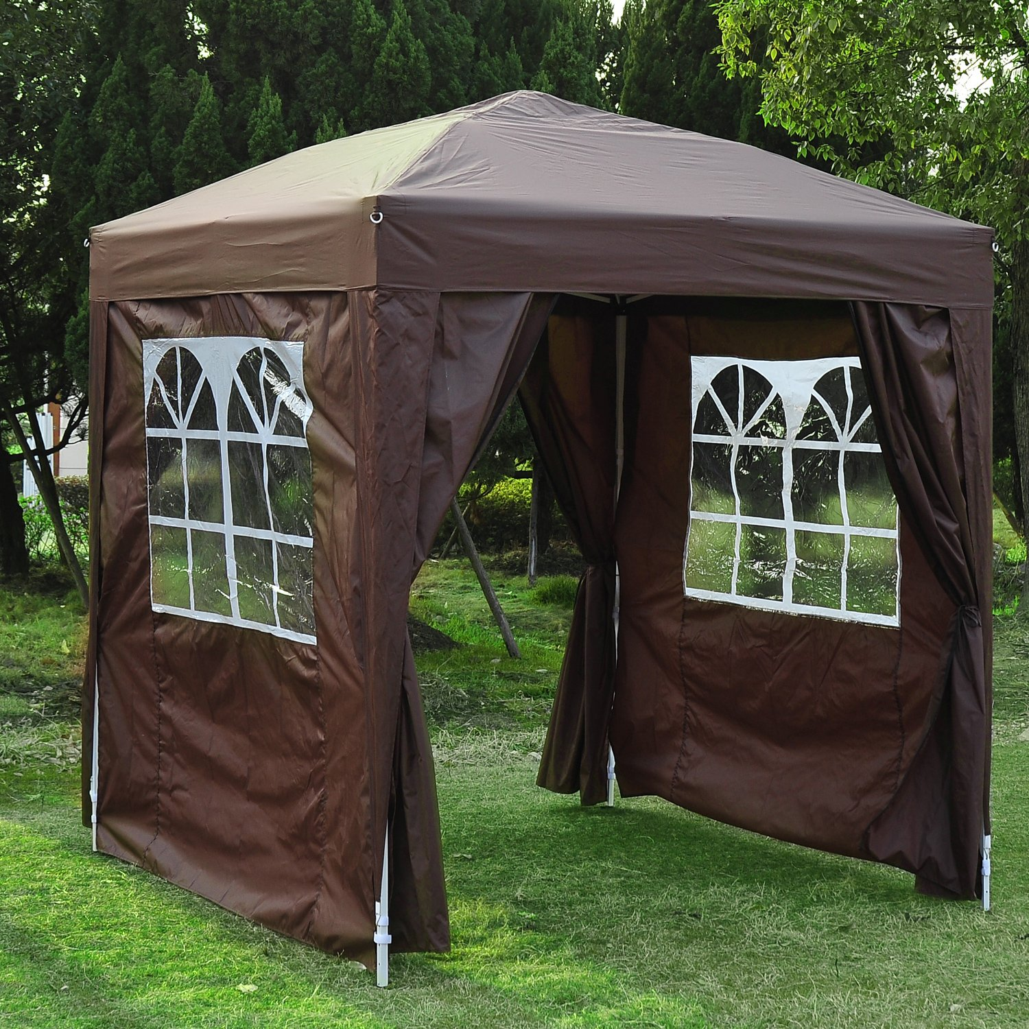 Outsunny 2m X Garden Heavy Duty Pop Up Gazebo Marquee Party Tent Wedding Awning Canopy New With Free Carrying Case Green Removable 2 Walls Windows