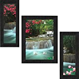 SAF Set of 3 Waterfall in Forest Nature UV Coated Home Decorative Gift Item Framed Painting 13.5 inch X 22.5 inch SANFSAA9186