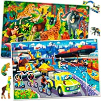 Quokka Kids Toys Puzzles for Boys Girls Ages 8-10 – 60 Piece Kids Jigsaw Puzzles Age 5-8 - Animals Cars Fun Educational…