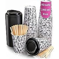 40 Gobelets Carton pour Café à Emporter - Tasse Café 240ml avec Couvercles et Agitateurs en Bois pour Servir Le Café, Le…