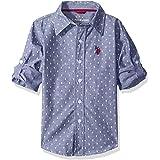 يو.اس. بولو اسن، قميص للاولاد باكمام طويلة مطبوع من قماش شامبراي منسوج بازرار