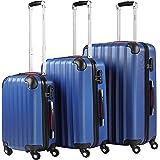Monzana Juego de 3 Maletas Azul Set de 3 Valijas M L XL Rígidas Livianas con Cierre de Seguridad Equipaje