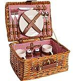 eGenuss Picknick Korb komplett Porzellan Geschirr 2 Personen Weidenkorb Picknickkorb Weidenholz Weidenpicknickkorb (Rot)