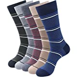 Balenzia Men's Striped Cotton Crew Length Socks-5 Pair Pack-(Black,Beige,Navy,D.Grey,L.Grey)