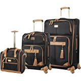 Steve Madden Designer Luggage Collection- 3 Piece Softside Expandable Lightweight Spinner Suitcases- Travel Set includes Unde