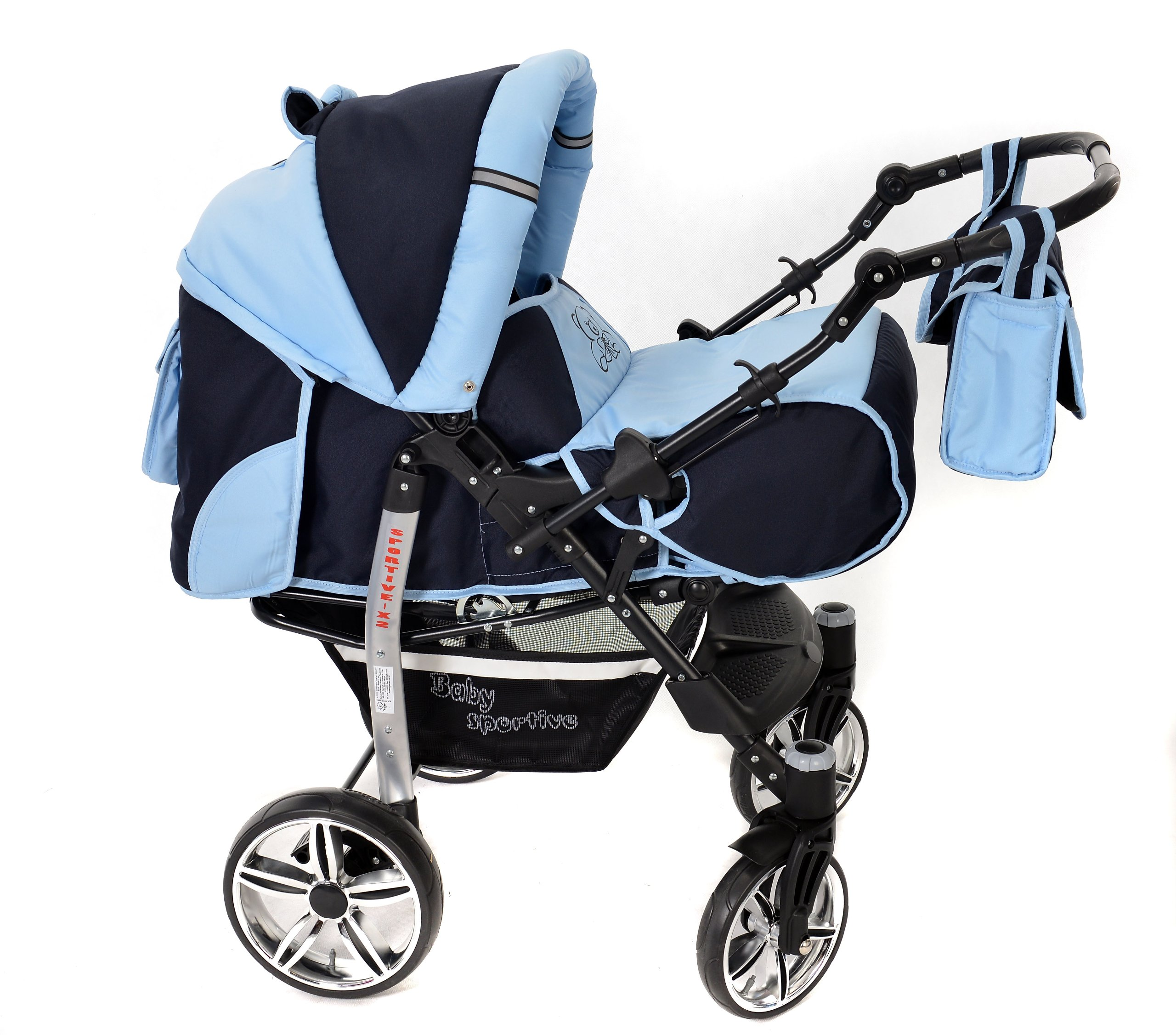 Sportive X2, 3-in-1 Travel System incl. Baby Pram with Swivel Wheels, Car Seat, Pushchair & Accessories (3-in-1 Travel System, Navy-Blue & Blue)  3 in 1 Travel System All in One Set - Pram, Car Carrier Seat and Sport Buggy + Accessories: carrier bag, rain protection, mosquito net, changing mat, removable bottle holder and removable tray for your child's bits and pieces Suitable from birth, Easy Quick Folding System; Large storage basket; Turnable handle bar that allows to face or rear the drive direction; Quick release rear wheels for easy cleaning after muddy walks Front lockable 360o swivel wheels for manoeuvrability , Small sized when folded, fits into many small car trunks, Carry-cot with a removable hood, Reflective elements for better visibility 2