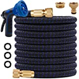 KAREEME 100ft Expandable Garden Hose Upgraded Flexible Water Hose with Three Latex Core, 3/4 and 1/2 Solid Metal Connector, E