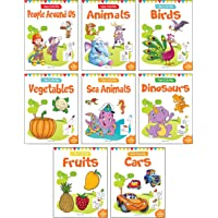 Little Artist Copy Colouring Boxset: Pack of 8 Books (Birds, Sea Animals, Fruits, Vegetables, Dinosaurs, Cars and People…