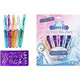 Brandsseller 5 bolígrafos de gel con purpurina, diseño de princesa de hielo con plantilla.