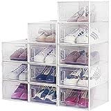 Boîte à Chaussures, Lot de 12 Boîte de Rangement Transparente pour Chaussures, Boîte à Chaussures en Plastique Antipoussière