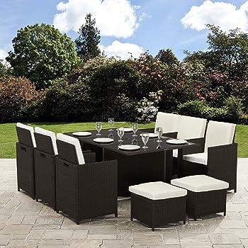 Bella Life 11 Piece/10 Seater | PE Rattan Cube Table, Chair, Stool Set | Garden Furniture (no parasol, Brown)