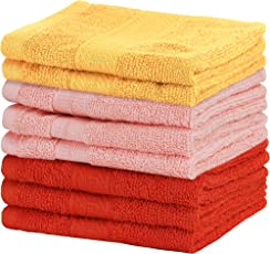 Urban Hues 500 GSM Cotton Face Towels, Multi - Set of 8 (12 Inch x 12 Inch)