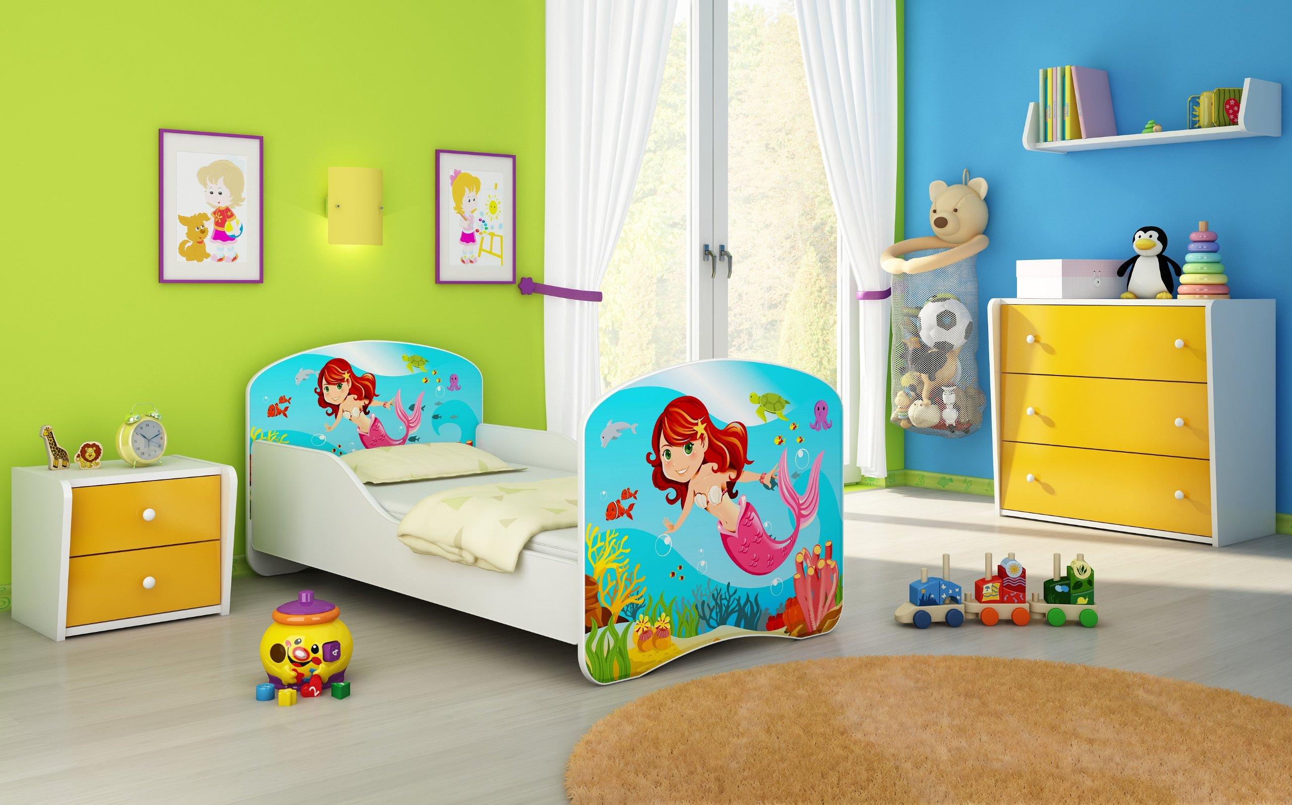 CHILDREN TODDLER KIDS BED + FREE MATTRESS ACMA I WHITE … 140x70 160x80 180x80 40 Designs (09 Mermaid, 180x80 cm) ACMA  1