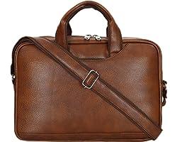 Storite PU Leather 14 inch Laptop Messenger Organizer Bag/Shoulder Sling Office Bag for Men & Women – (37x 27x7 cm,Light Brow