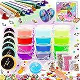 Kit de Slime Kit Brillan en la Oscuridad - 20 Colores Kit de Slime Esponjoso con Unicornio, Purpurina, Nube, Espuma y Más Jug