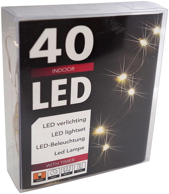 Led Draht Lichterkette Batterie warmweiß Timer Tropfen 10 20 40 ...