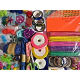 Anjay 36 Pcs DIY Art and Craft Materials Kit Hobby Decoration Items with Origami Ice Cream Sticks Colourful Tapes Ribbon Rope