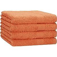 Betz Lot de Serviettes Set de 4 Serviettes de Toilette Taille 50x100 cm 100% Coton Premium Color Orange