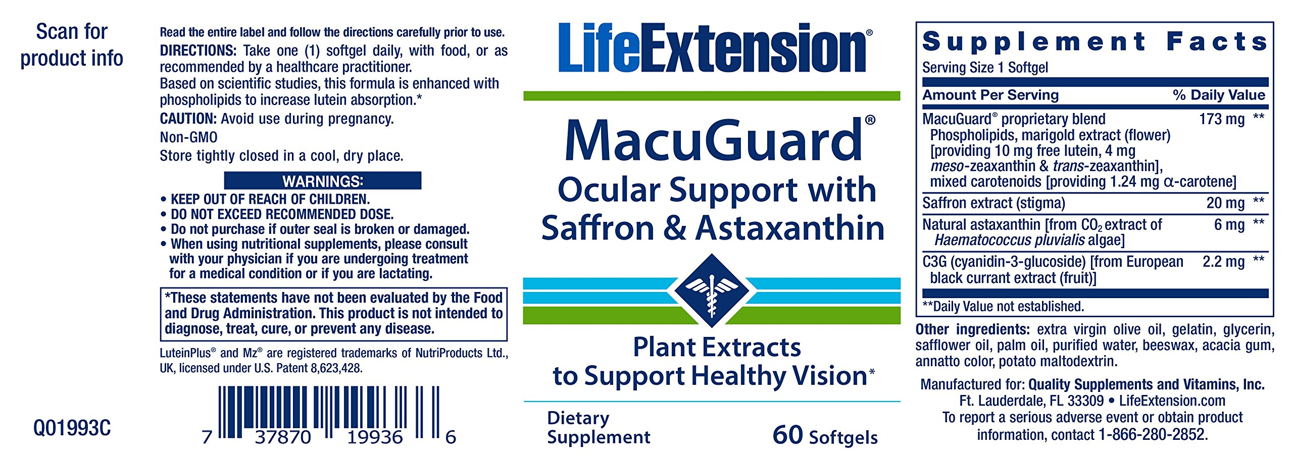 91JrxpouCxL - Life Extension MacuGuard Ocular Support with Saffron & Astaxanthin, 60 softgels 01993