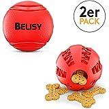 BELISY Intelligente Hundebälle im Set I Dentalball & Spielball I Rot