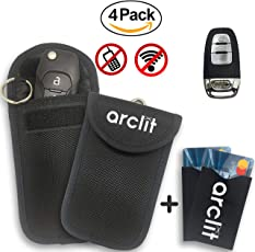 Arclit 2 x Keyless Go Schutz Autoschlüssel + 2x RFID Blocker Schutzhüllen für Kreditkarten & Bankkarten   Verhindere den Diebstal deines Autos   Autoschlüssel Hülle Zum Funkschlüssel abschirmen   RFID / NFC / WLAN / GSM / LTE Blocker   Signalblockierende Beuteltasche